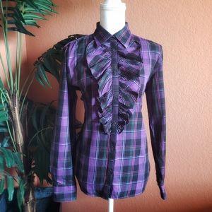 Ralph Lauren Ruffle Plaid Flannel Top Purple Black